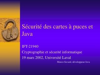 Sécurité des cartes à puces et Java
