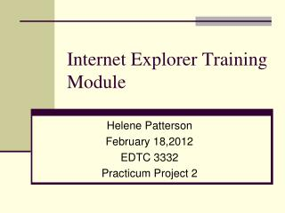 Internet Explorer Training Module