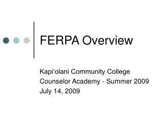 FERPA Overview