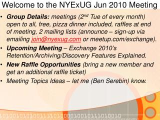 Welcome to the NYExUG Jun 2010 Meeting