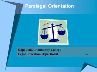 Paralegal Orientation