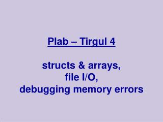 Plab – Tirgul 4 structs & arrays,  file I/O, debugging memory errors