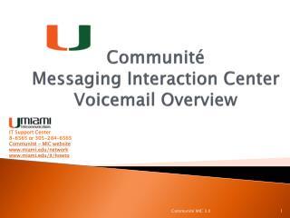Communité  Messaging Interaction Center  Voicemail Overview