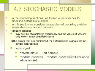 4.7 STOCHASTIC MODELS