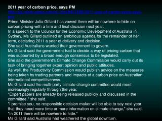 2011 year of carbon price, says PM