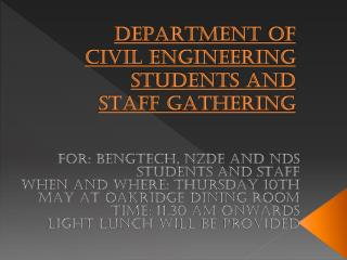 DEPARTMENT  OF CIVIL ENGINEERING STUDENTS AND STAFF GATHERING