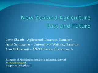 New Zealand Agriculture Past and Future