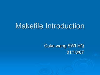 Makefile Introduction