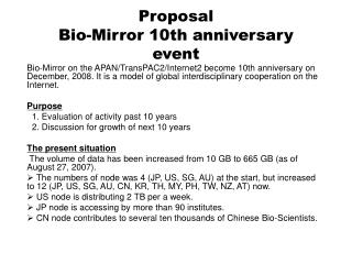 Proposal Bio-Mirror 10th anniversary event