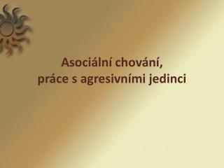 Asociální chování,  práce s agresivními jedinci
