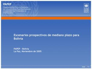 Escenarios prospectivos de mediano plazo para Bolivia PAPEP - Bolivia La Paz, Noviembre de 2005