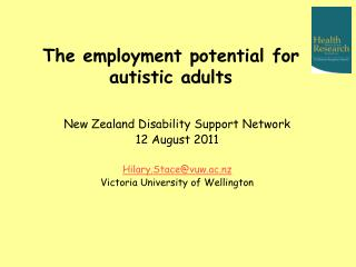 The employment potential for autistic adults