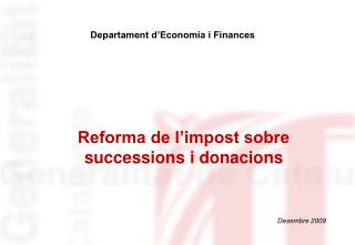 Reforma de l impost sobre successions i donacions