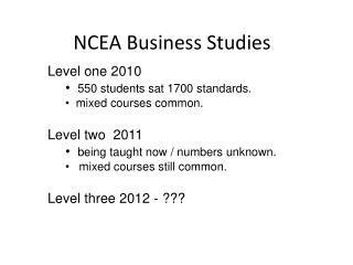 NCEA Business Studies
