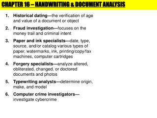 CHAPTER 16 – HANDWRITING & DOCUMENT ANALYSIS