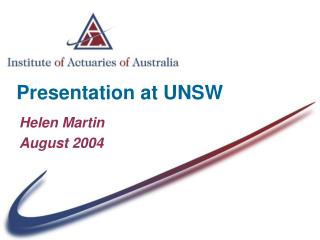 Presentation at UNSW