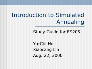 Introduction to Simulated Annealing