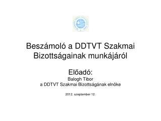 Beszámoló a DDTVT Szakmai Bizottságainak munkájáról