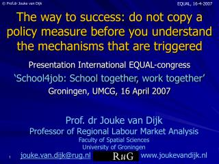Presentation International EQUAL-congress 'School4job: School together, work together'