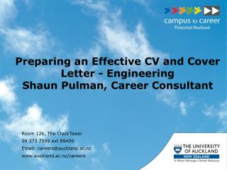 Preparing an Effective CV and Cover Letter - Engineering Shaun Pulman, Career Consultant