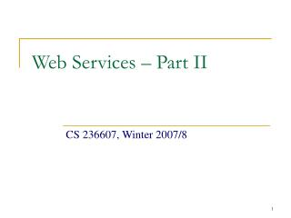 Web Services – Part II