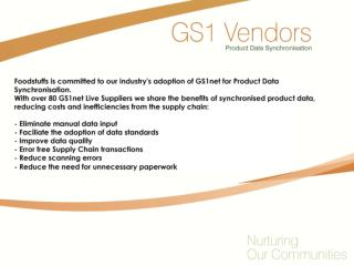 Congratulations to the following Suppliers for achieving GS1Net Live status with Foodstuffs