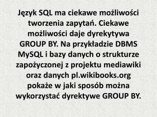 Podstawowa składnia dyrektywy GROUP BY