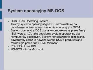 System operacyjny MS-DOS
