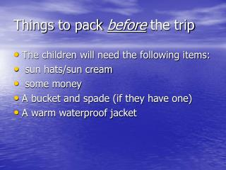 Things to pack  before  the trip