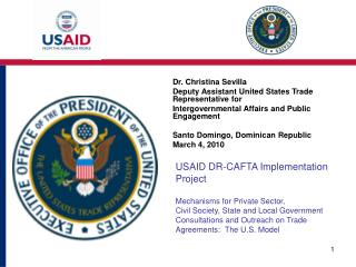 Dr. Christina Sevilla Deputy Assistant United States Trade Representative for