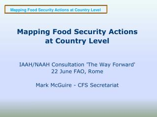 Mapping Food Security Actions at Country Level  IAAH/NAAH Consultation 'The Way Forward'