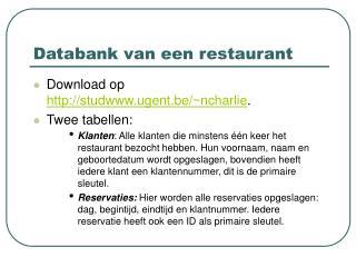 Databank van een restaurant