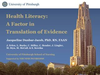 Health Literacy:  A Factor in  Translation of Evidence