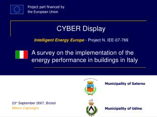 CYBER Display Intelligent Energy Europe - Project N. IEE-07-769