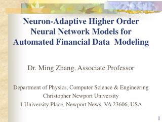 Neuron-Adaptive Higher Order Neural Network Models for Automated Financial Data  Modeling