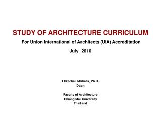 Study of Architecture Curriculum