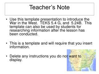 Teacher's Note