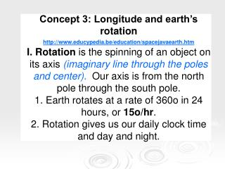 Concept 3: Longitude and earth's rotation educypedia.be/education/spacejavaearth.htm