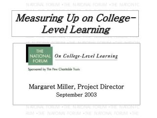 Measuring Up on College-Level Learning