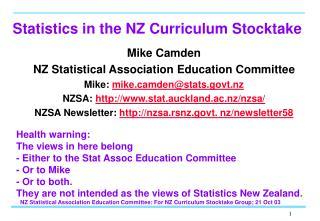 Statistics in the NZ Curriculum Stocktake