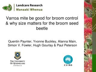Varroa mite be good for broom control & why size matters for the broom seed beetle