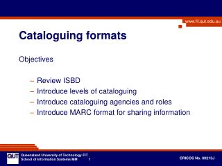 Cataloguing formats