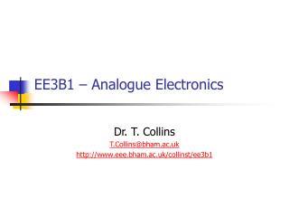 EE3B1   Analogue Electronics