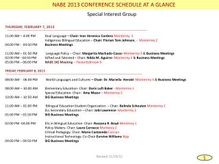 NABE 2013 CONFERENCE SCHEDULE AT A GLANCE
