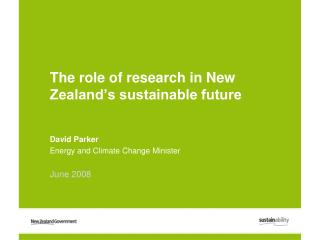 The role of research in New Zealand's sustainable future