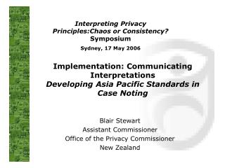 Implementation: Communicating Interpretations  Developing Asia Pacific Standards in Case Noting