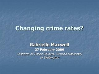 Changing crime rates?