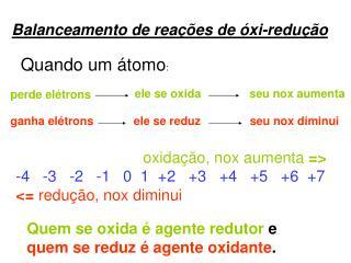 Balanceamento de reações de óxi-redução