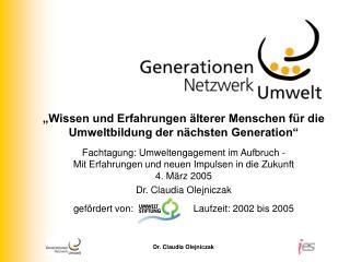 """""""Wissen und Erfahrungen älterer Menschen für die Umweltbildung der nächsten Generation"""""""