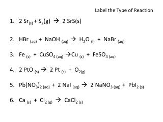 Label the Type of Reaction